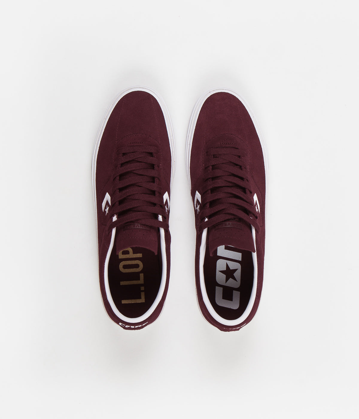 Converse Louie Lopez Pro Ox Classic Suede Shoes - Dark Burgundy / White / Gum