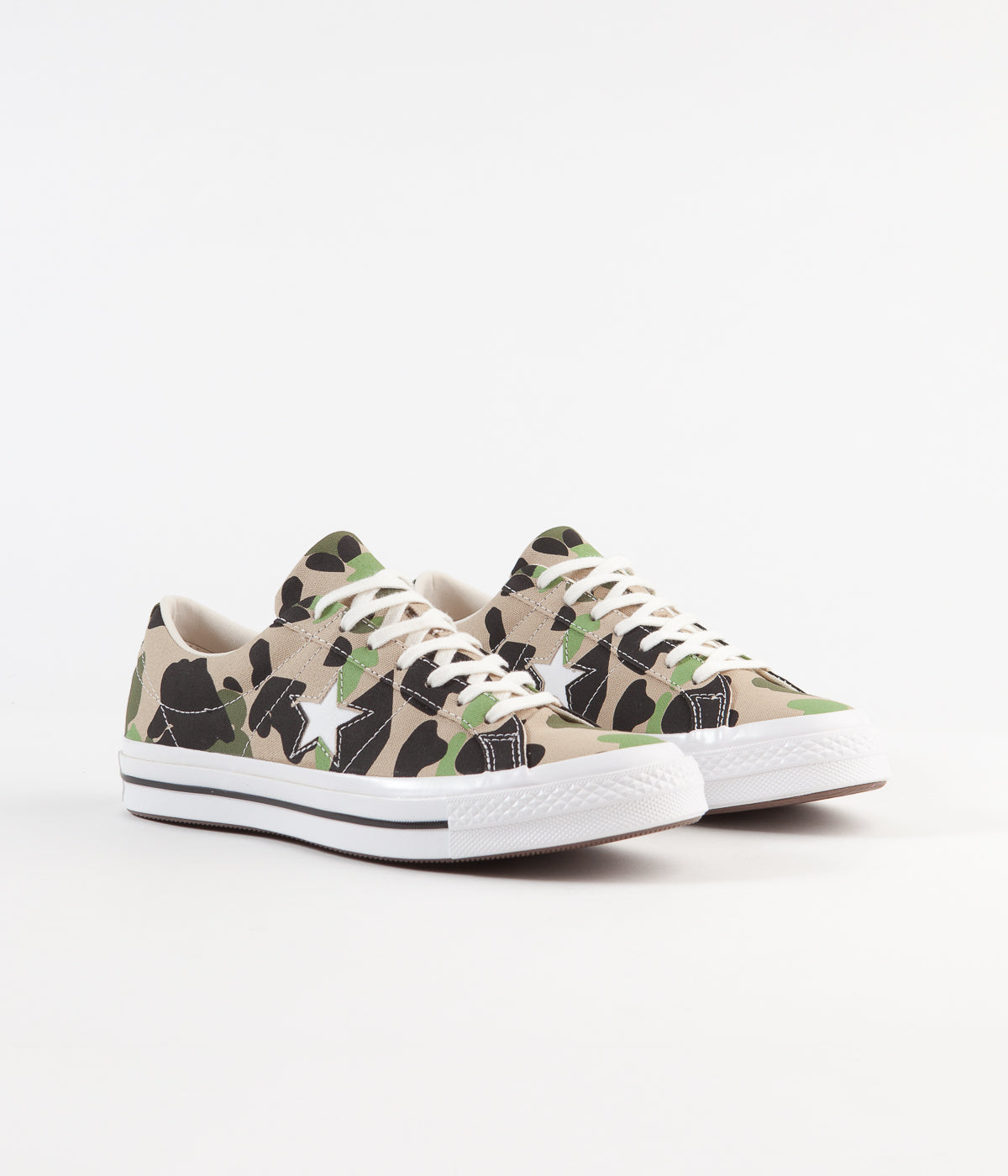 Converse One Star Ox Archive Print Remixed Shoes - Candied Ginger / Piquant Green