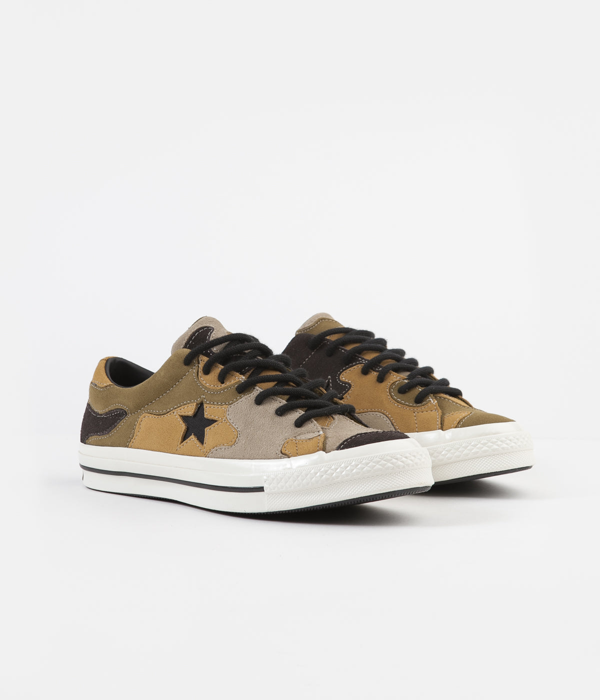 Converse One Star Ox Camo Suede Shoes - Black / Olive Flak / Wheat