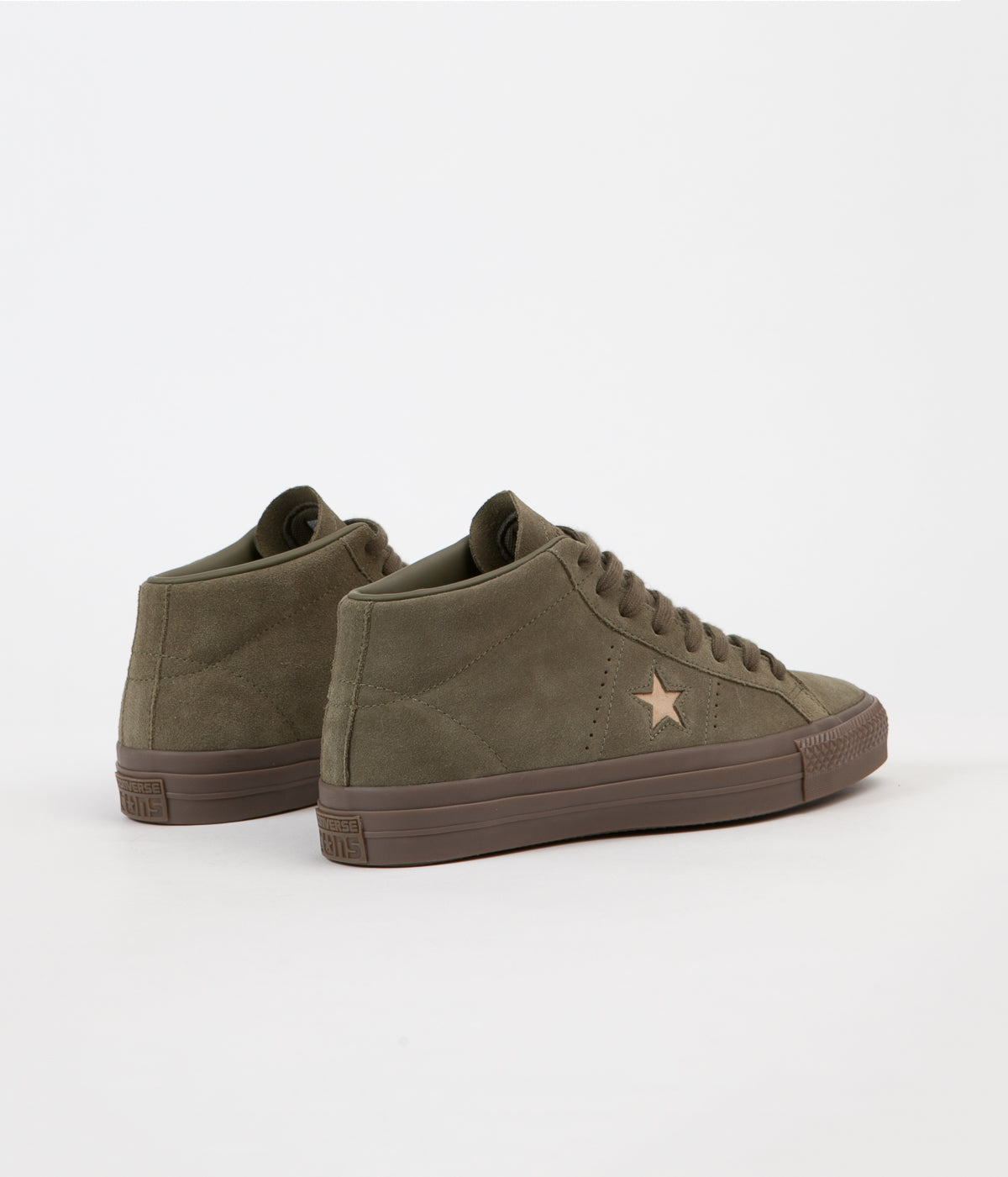 Converse One Star Pro Mid Shoes - Medium Olive / Light Fawn
