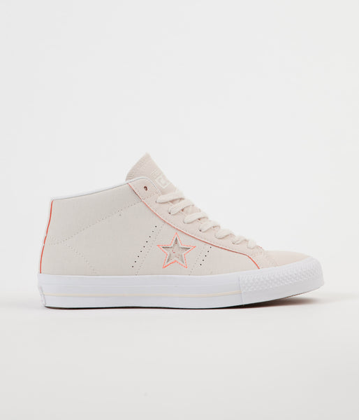 Converse One Star Pro Mid Shoes - Natural / Orange / White