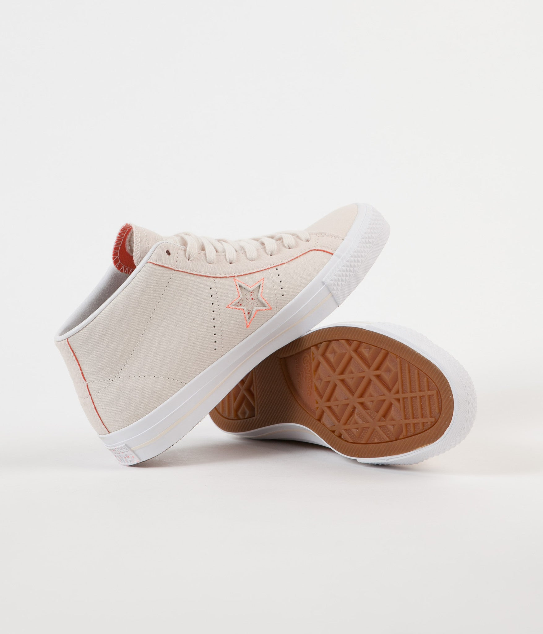 dd276343dca103 Converse One Star Pro Mid Shoes - Natural   Orange   White ...