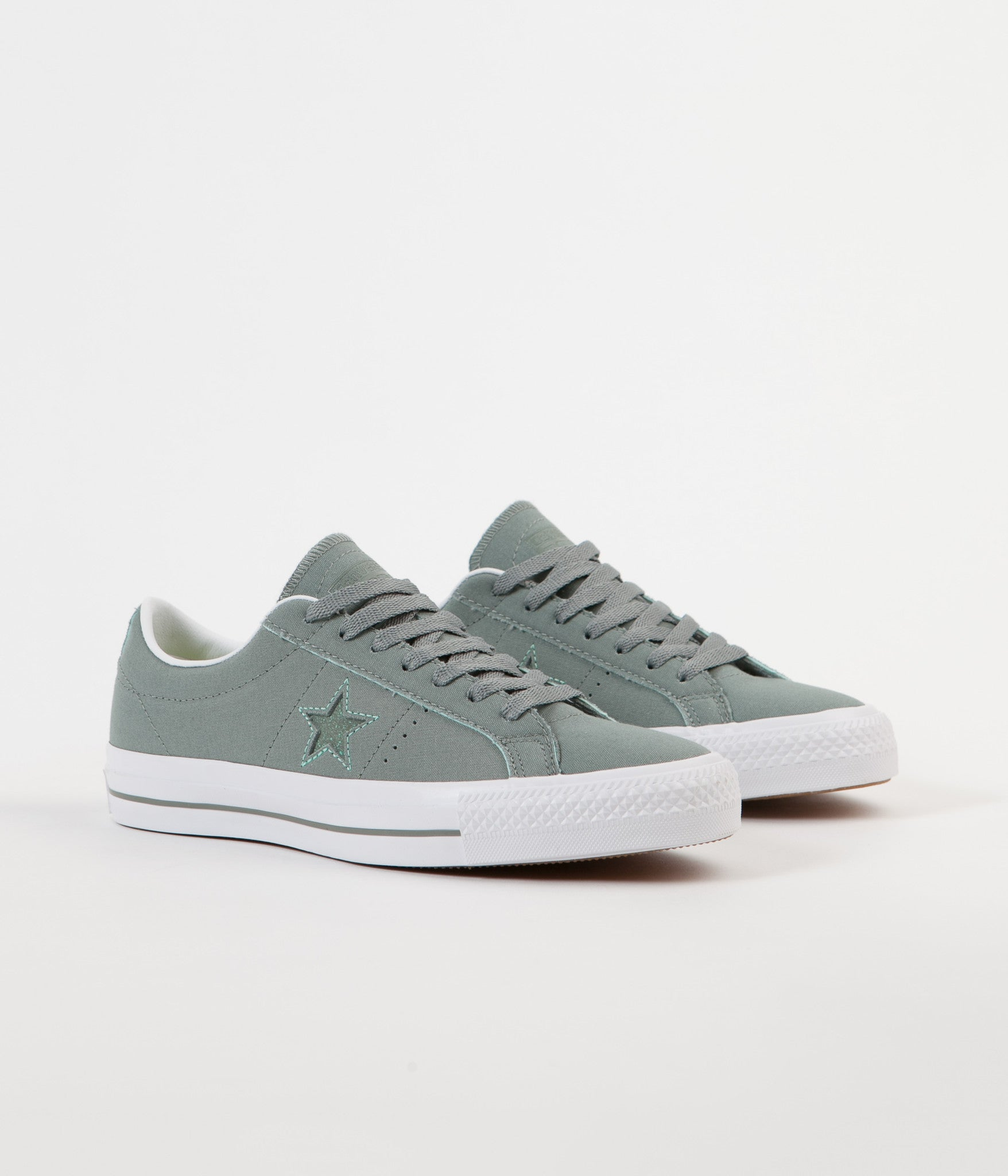 Converse One Star Pro Ox Shoes - Camo Green / Green Glow