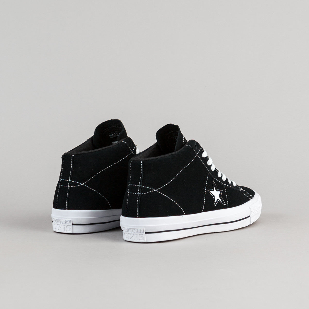 Converse One Star Pro Suede Mid Shoes - Black / White / Black