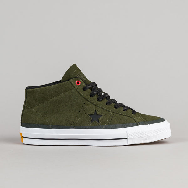Converse One Star Pro Suede Mid Shoes - Herbal / Black / White