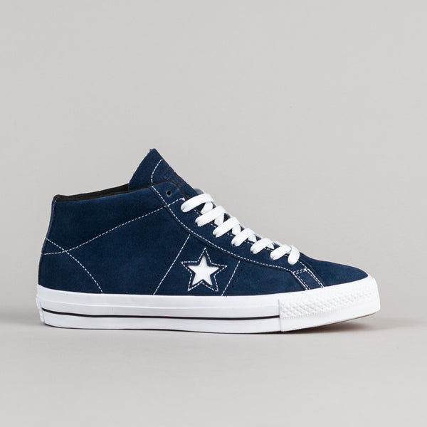 Converse One Star Pro Suede Mid Shoes - Navy / White / Black