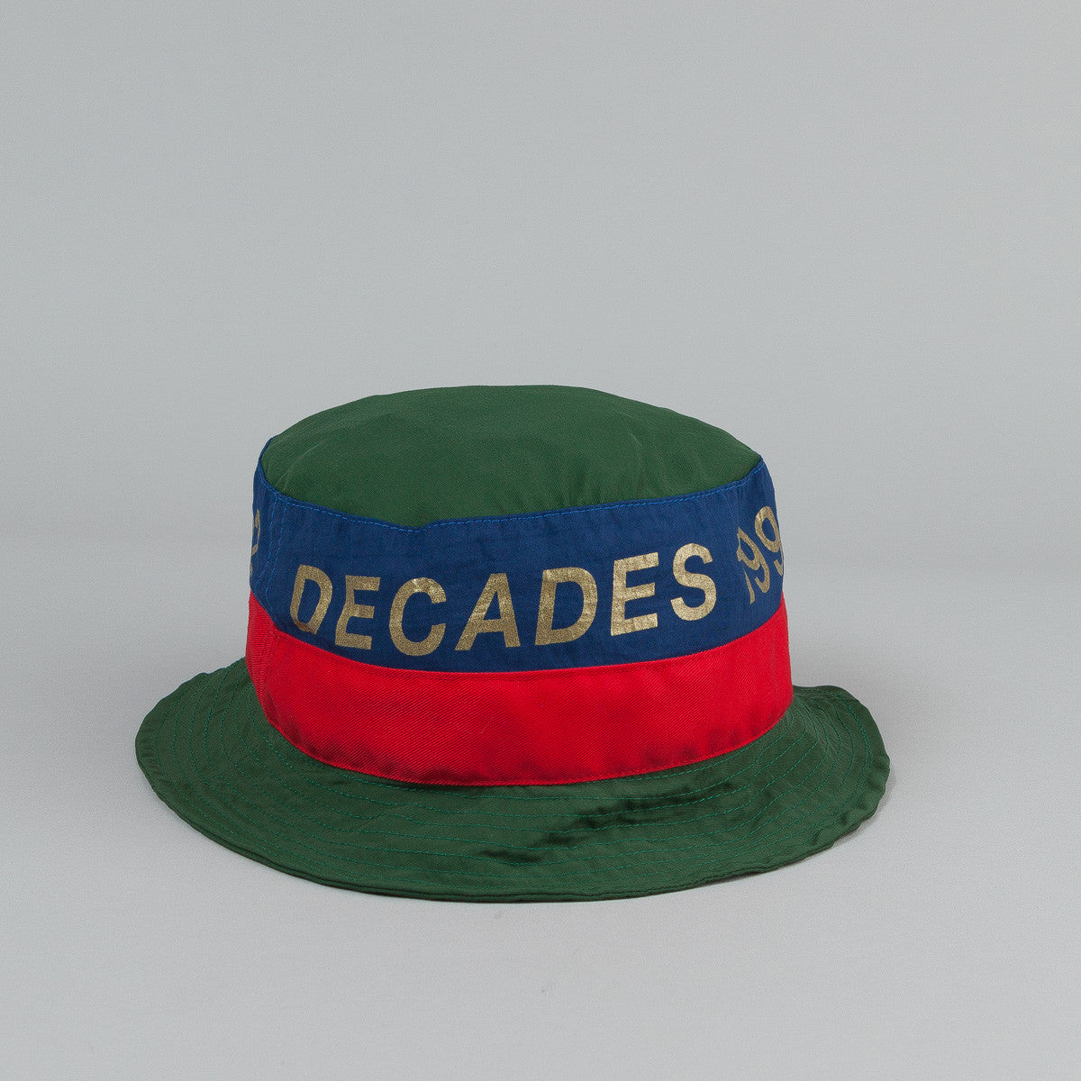 The Decades Barcelona Bucket Hat - Green / Navy / Red Nylon