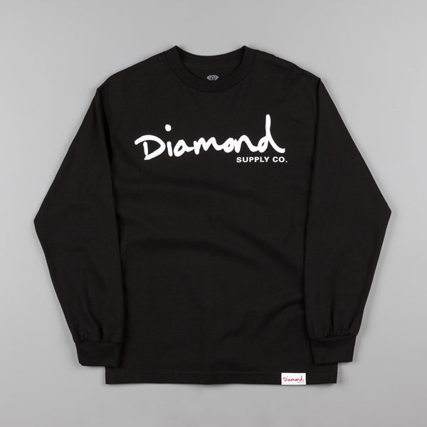 Diamond OG Script Long Sleeve T-Shirt - Black