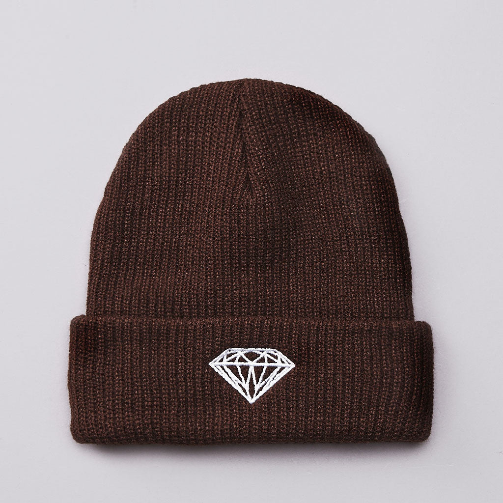 Diamond Brilliant Fold Beanie Brown