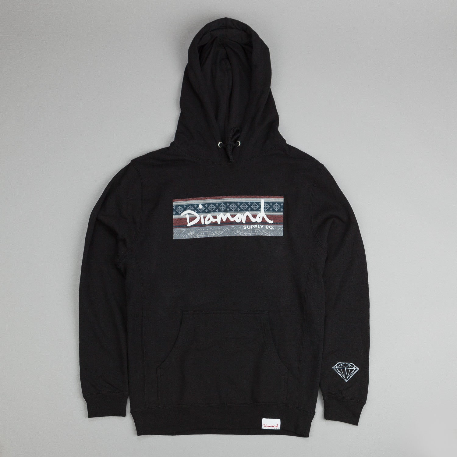 Diamond Fairisle Box Logo Hooded Sweatshirt Black