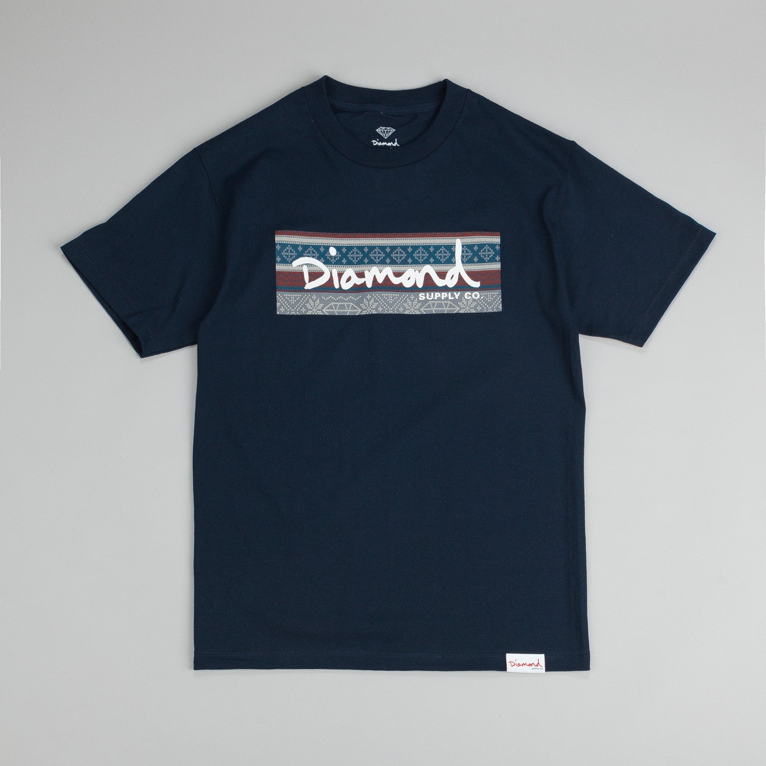 Diamond Fairisle Box Logo T-Shirt Navy