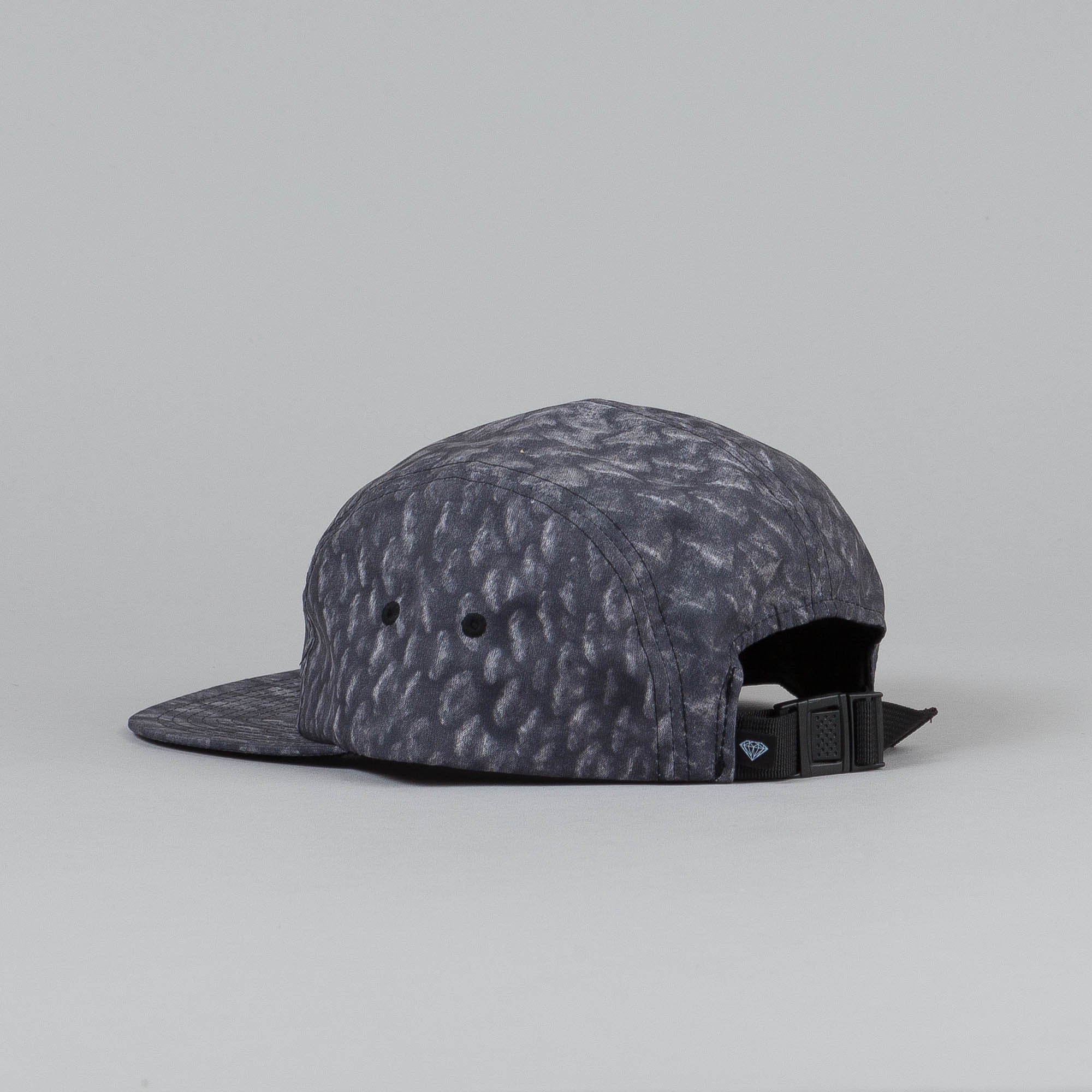 Diamond Fish Scale 5 Panel Camp Cap Black