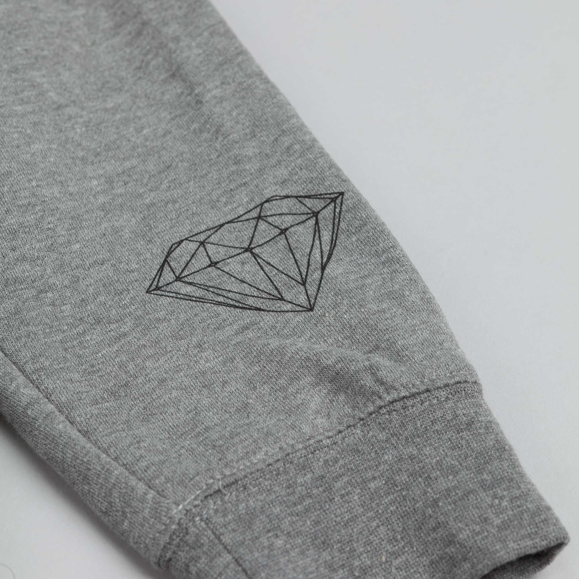 Diamond Low Life Box Logo Crew Sweatshirt Heather Grey