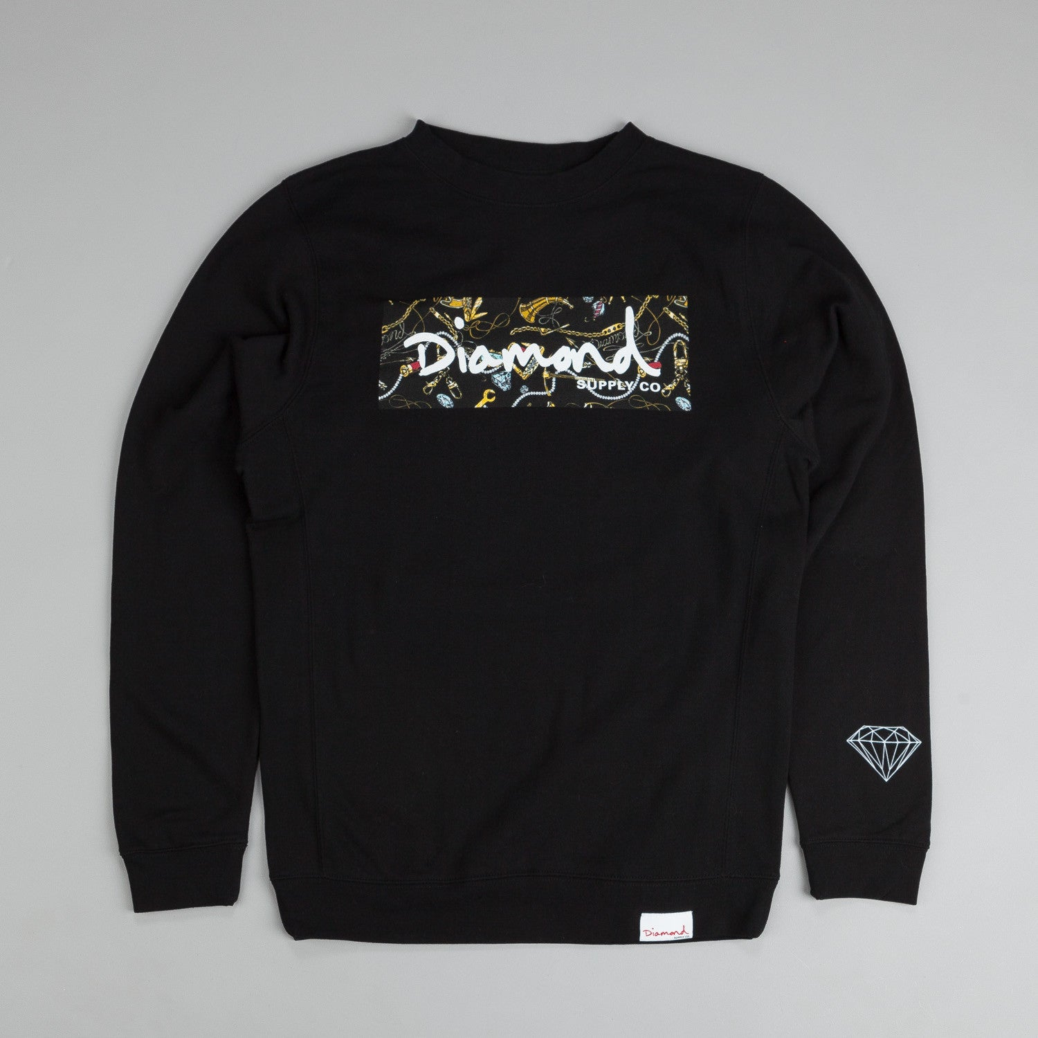 Diamond Low Life Box Logo Crew Neck Sweatshirt Black / Orange