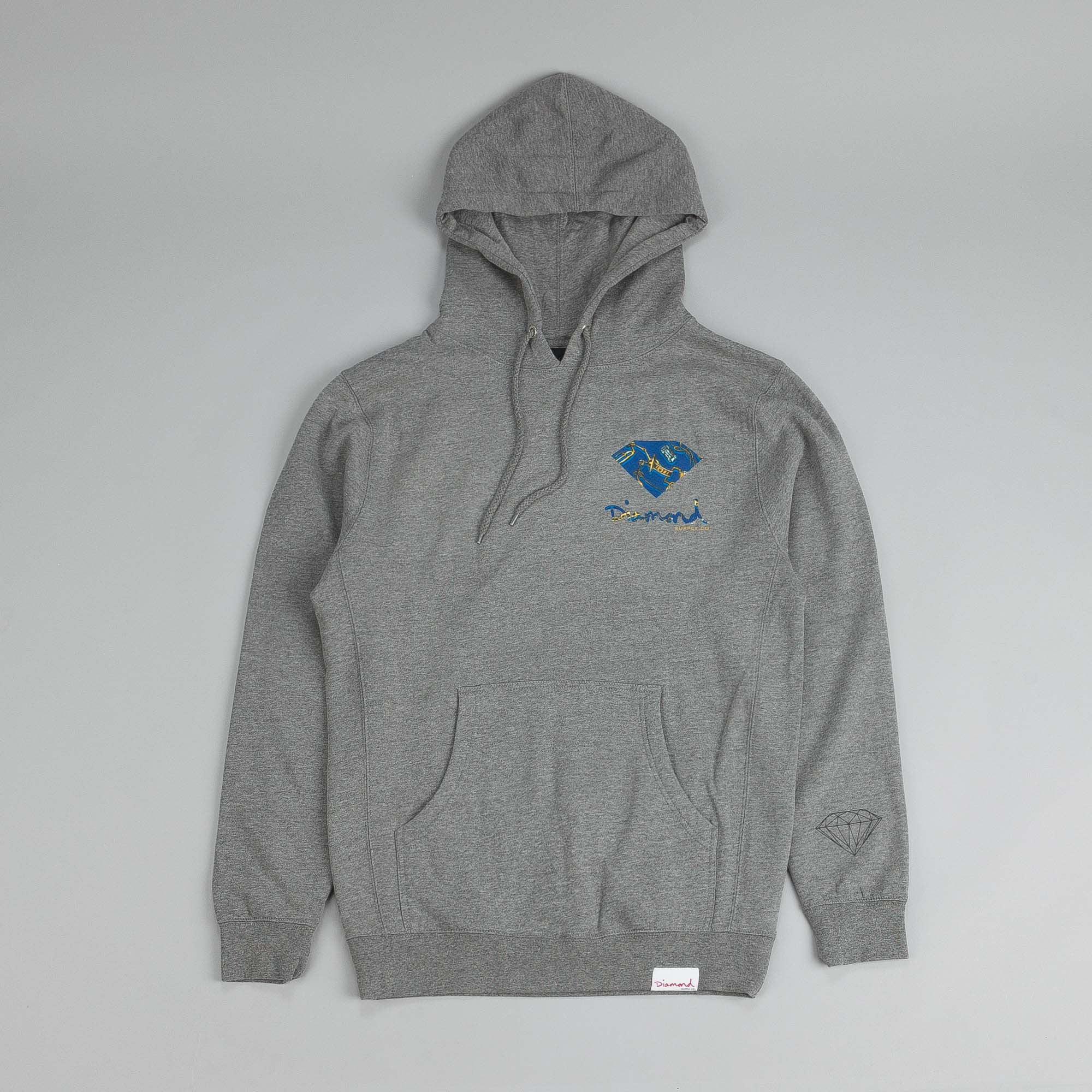 Diamond Low Life Hooded Sweatshirt Heather Grey