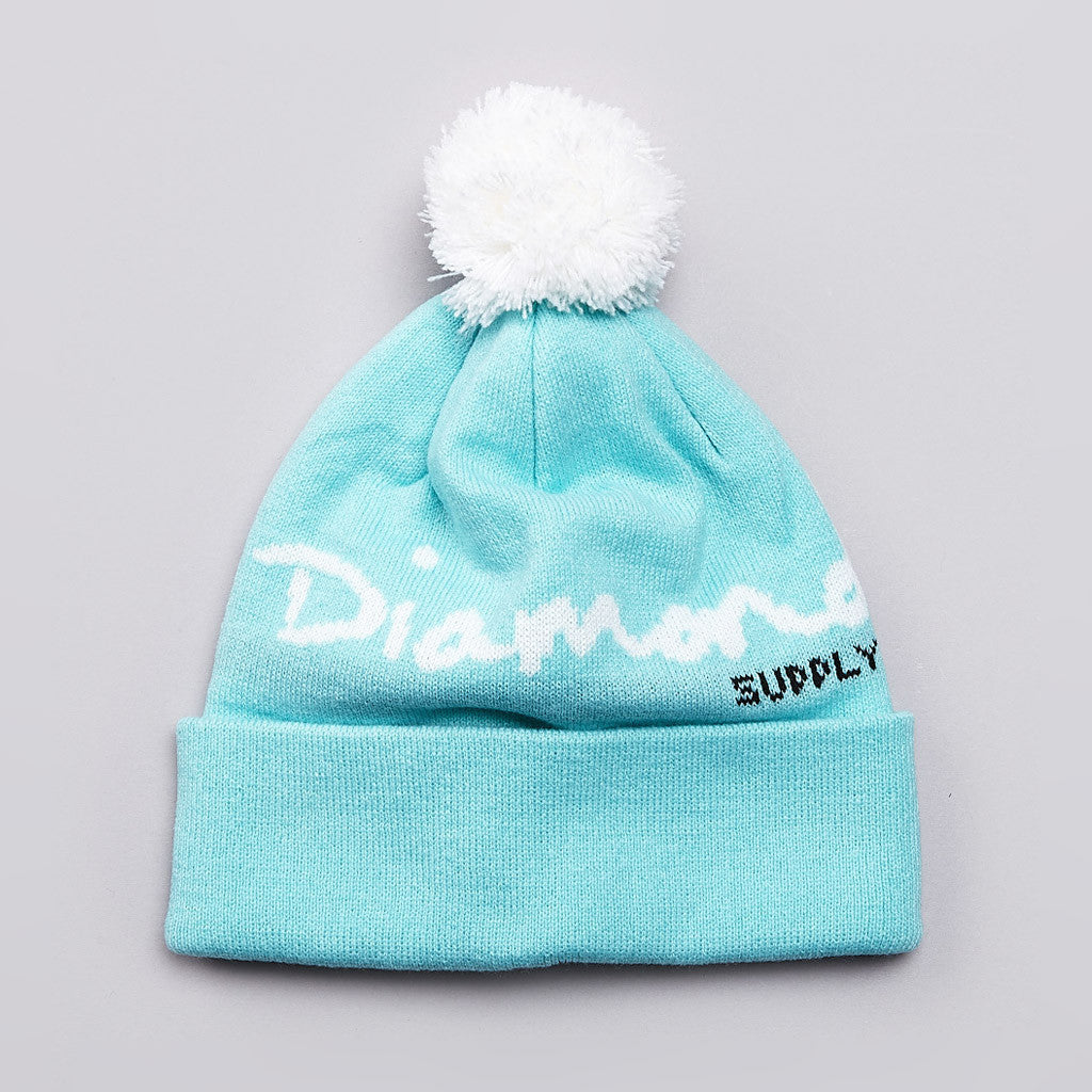 Diamond OG Script Pom Pom Beanie Diamond Blue