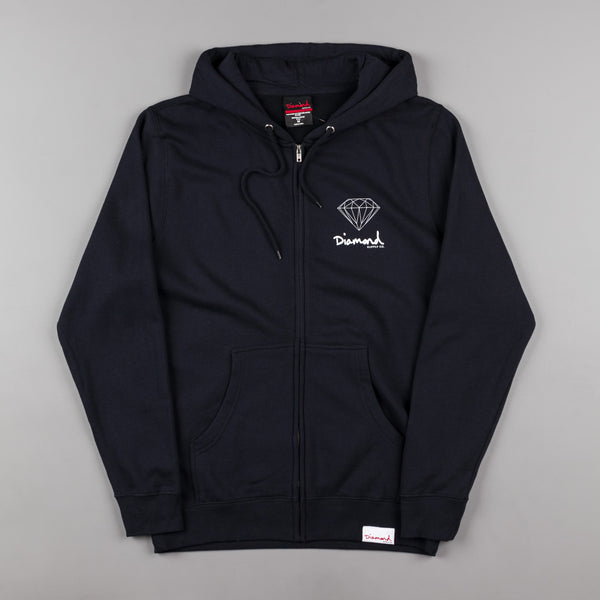 Diamond OG Sign Zip Up Hooded Sweatshirt - Navy