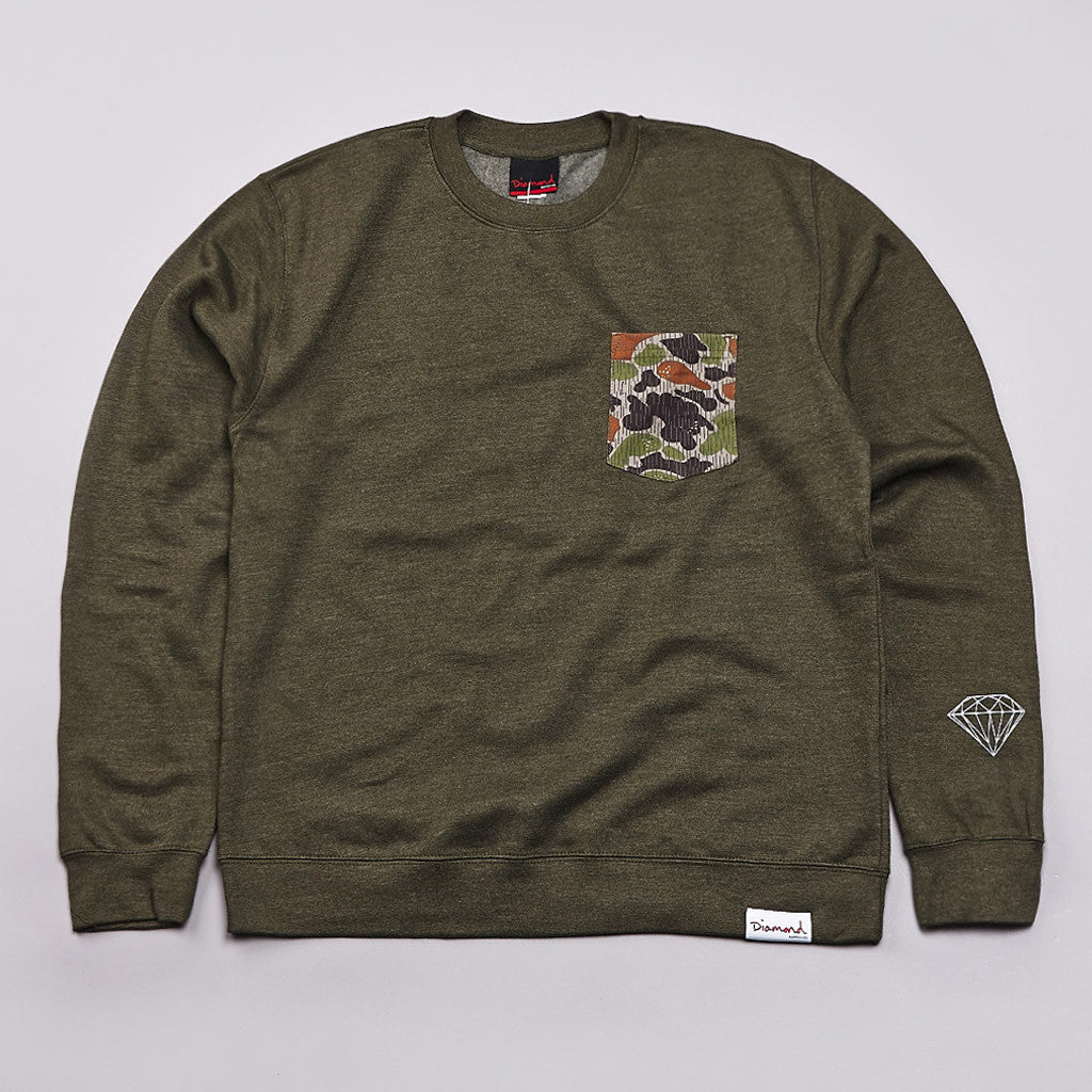 Diamond Rainfrog Pocket Crew Neck Sweatshirt Army Green