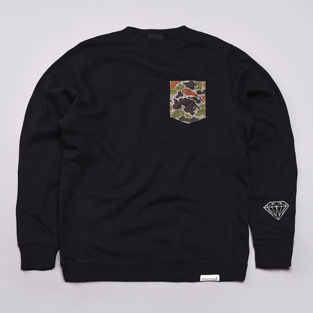 Diamond Rainfrog Pocket Crew Neck Sweatshirt Black