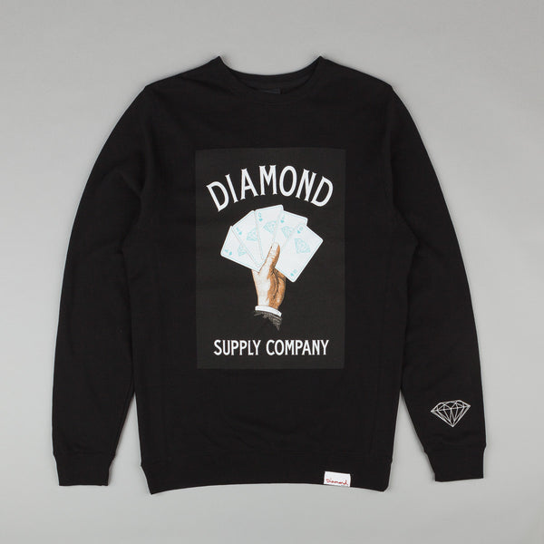 Diamond Royal Flush Crew Neck Sweatshirt - Black