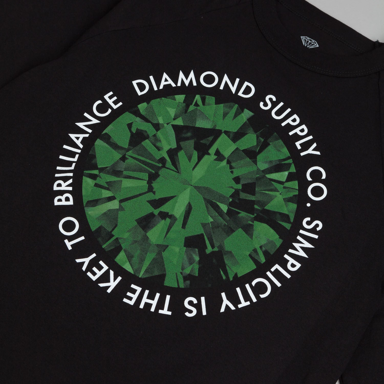 Diamond Simplicity 3/4 Sleeve Raglan T-Shirt - Black / Green