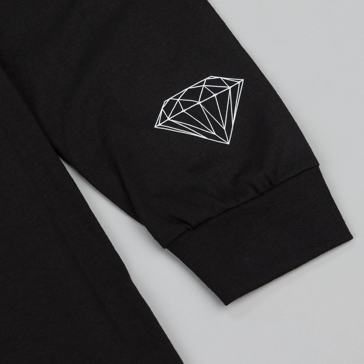 Diamond Stone Cut Long Sleeve T-Shirt - Black