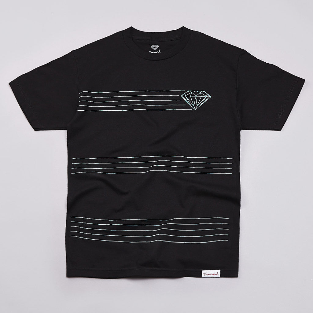 Diamond Striped T Shirt Black
