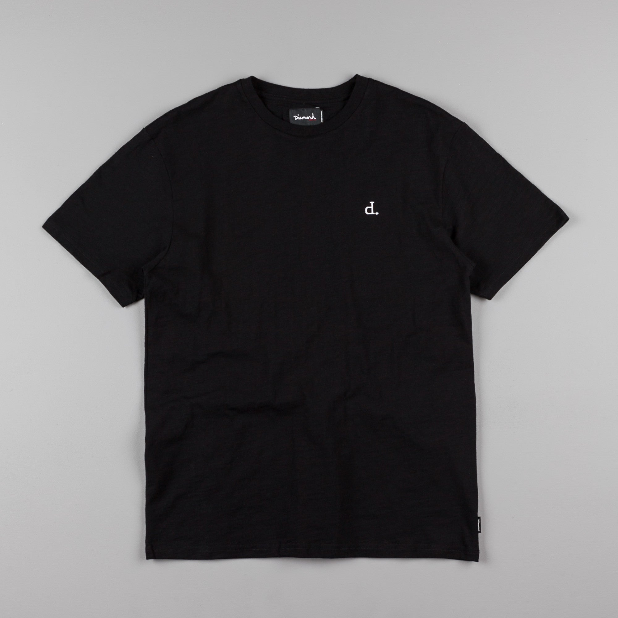 Diamond Un-Polo Chest Slub T-Shirt - Black