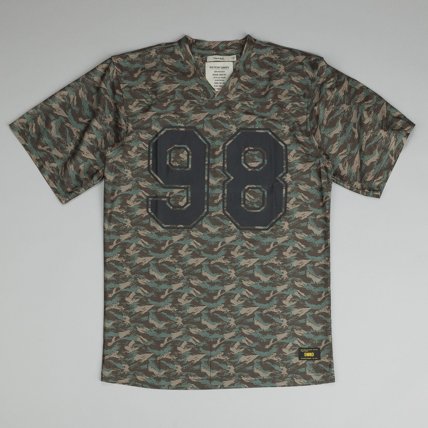 Diamond Tonal Camo Football Jersey Mesh T-Shirt Green
