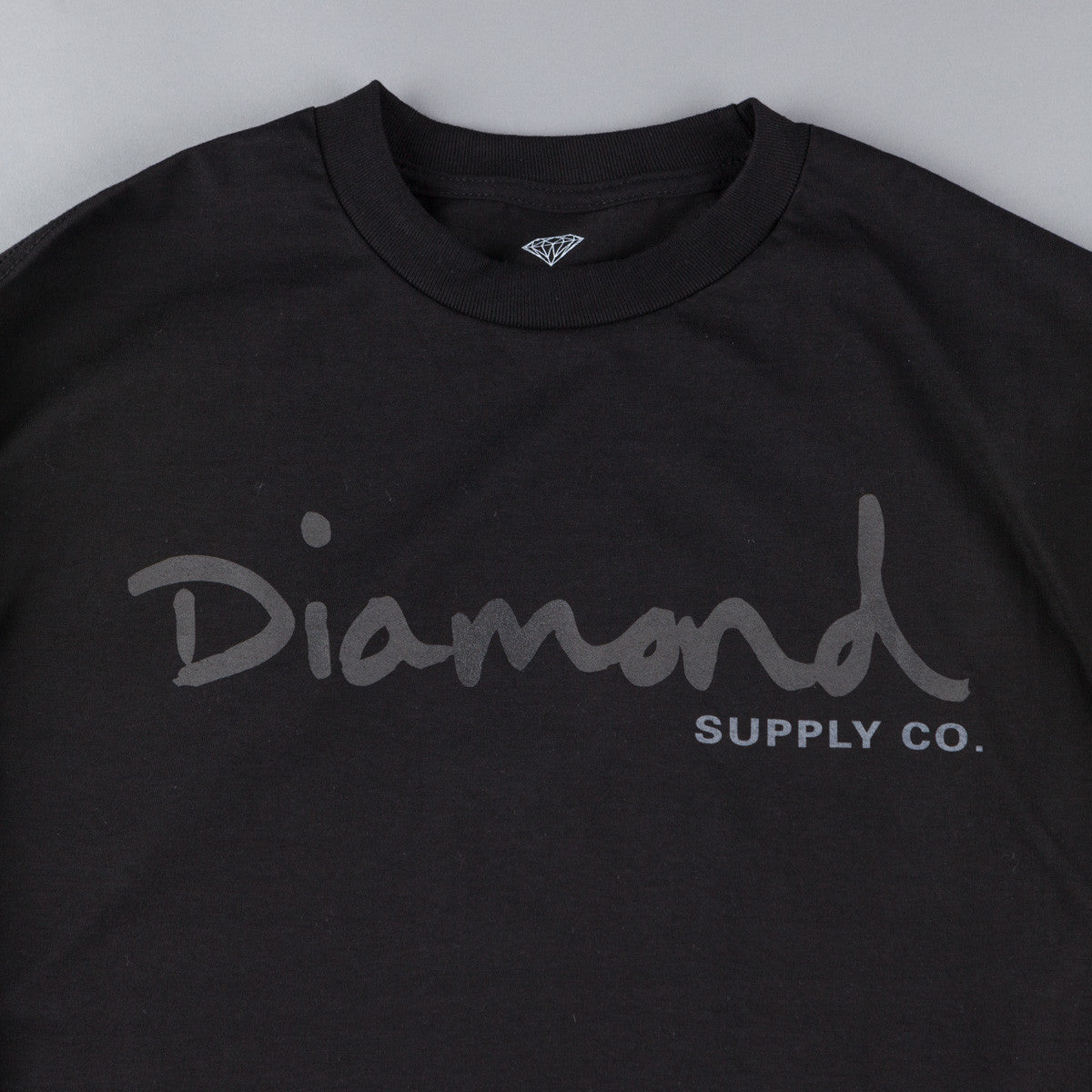 Diamond Tonal OG Script Long Sleeve T-Shirt - Black