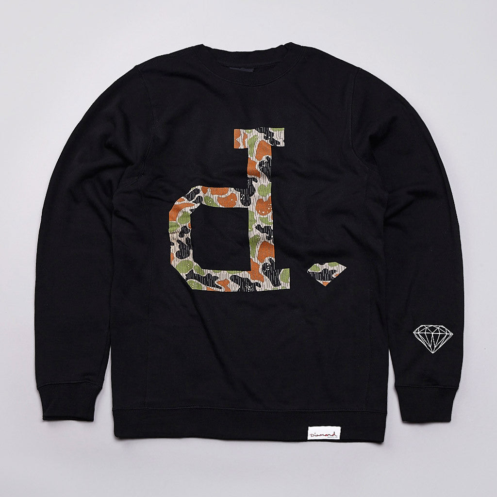 Diamond Unpolo Rain Camo Crew Neck Sweatshirt Black