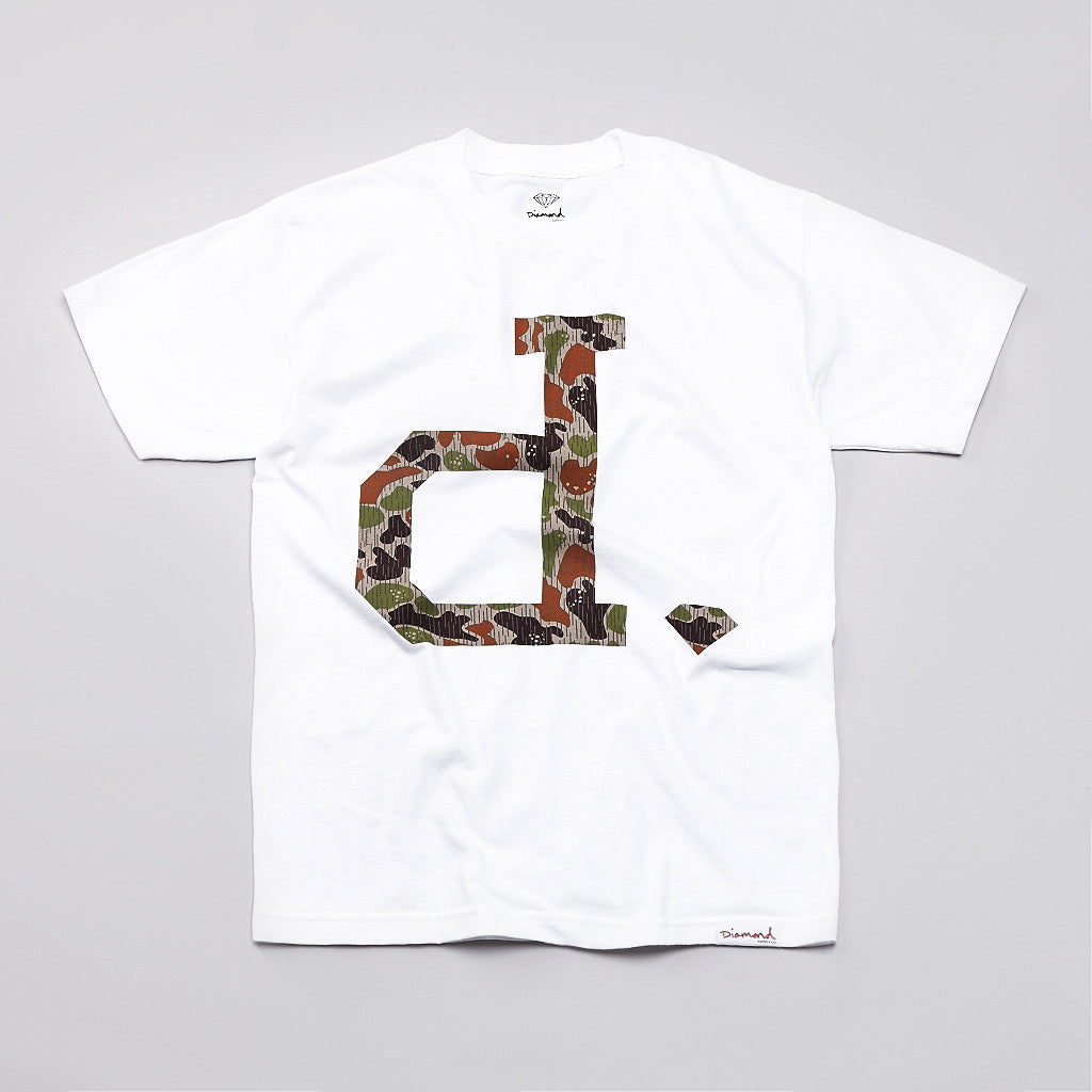 Diamond Unpolo Rain Camo T Shirt White