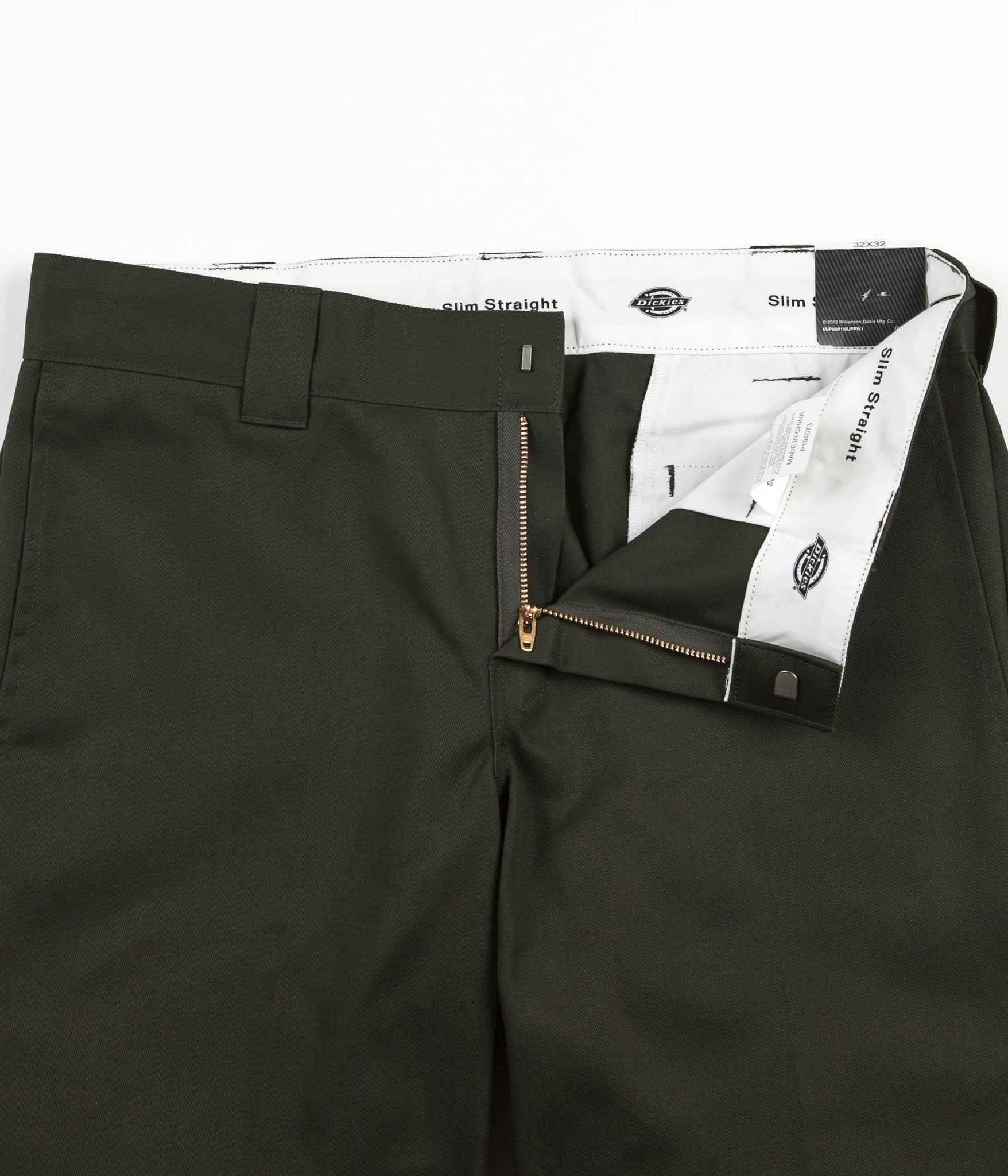 Dickies 873 Slim Straight Work Trousers - Olive Green