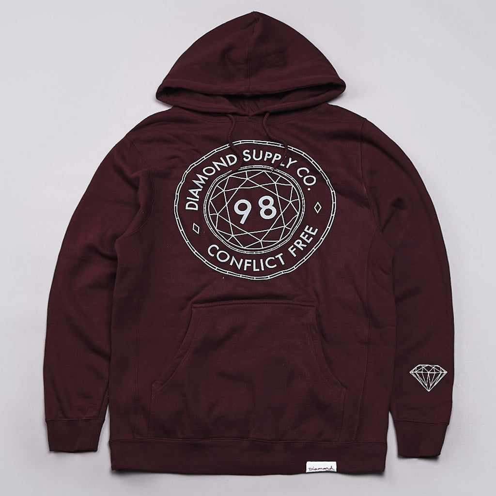 Diamond Conflict free Hooded Sweatshirt Burgundy
