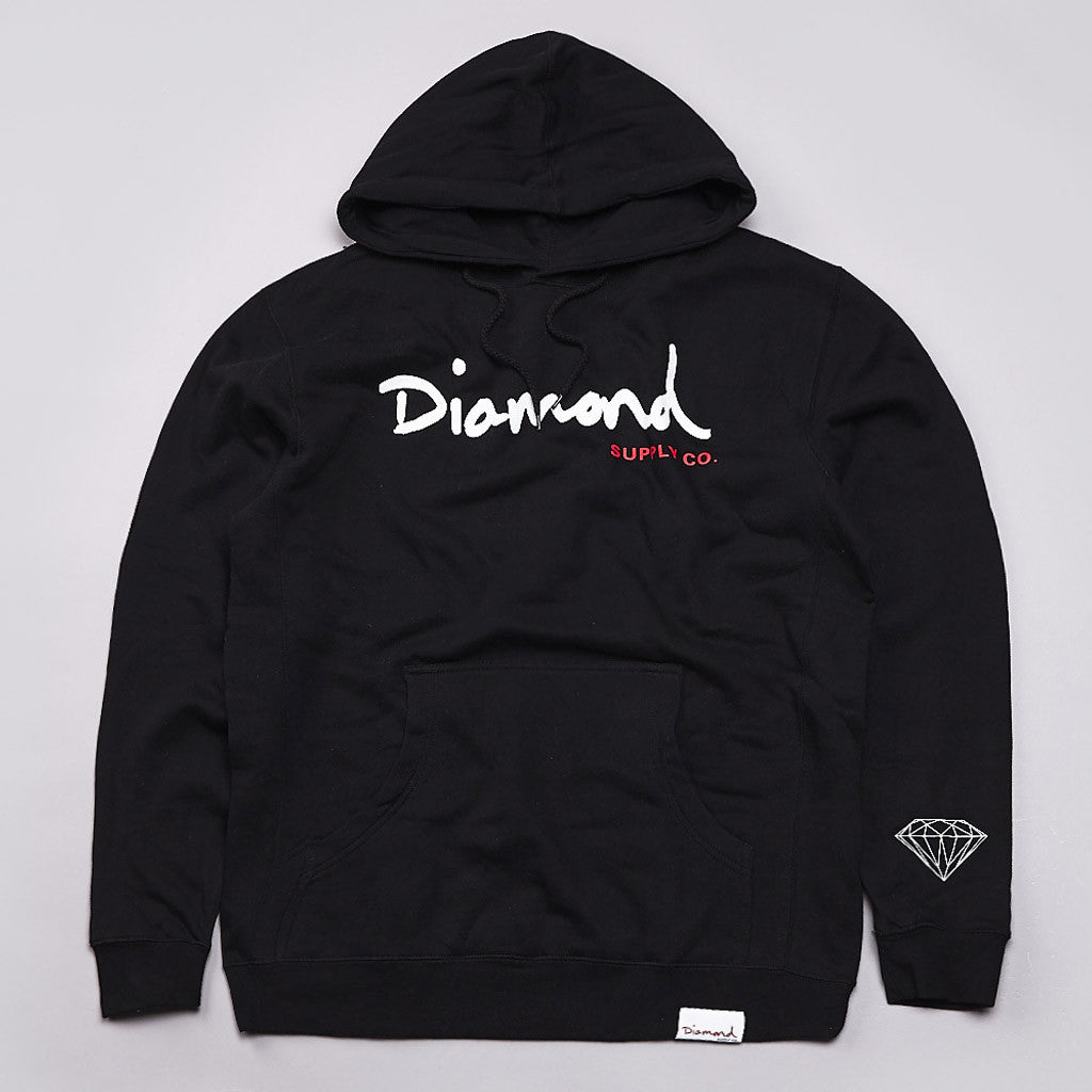 Diamond OG Script Hooded Sweatshirt Black
