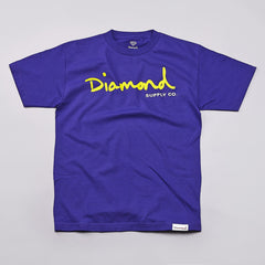 Diamond OG Script T Shirt Purple