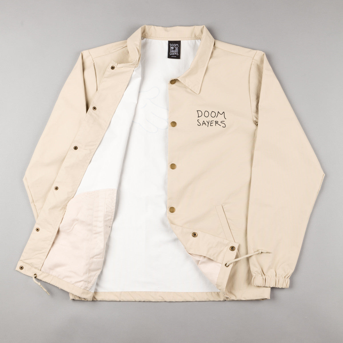 Doom Sayers Cartoon Snake Shake Coaches Jacket - Khaki