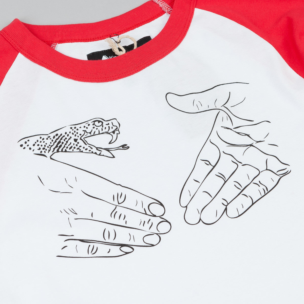 Doom Sayers X Know1edge Snake Shake 3/4 Sleeve Raglan T-Shirt - White / Red