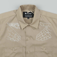 Doom Sayers X Know1edge Snake Shake Button Up Short Sleeve Shirt - Tan