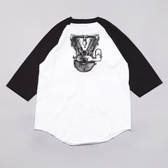 DQM 8-bit Raglan Sleeves Baseball T Shirt White / Black