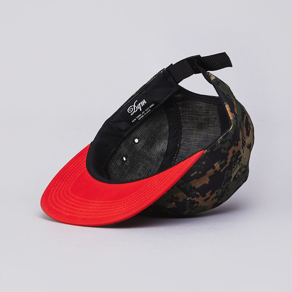DQM Allegany 5 Panel Camp Cap Digital Woodland / Blaze Orange