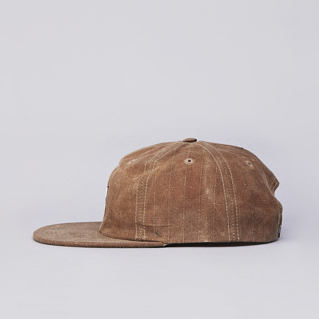 DQM River James Waxed Cotton Ripstop 6 Panel Polo Cap Field Tan