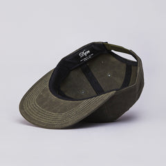 DQM River James Waxed Cotton Ripstop 6 Panel Polo Cap Olive