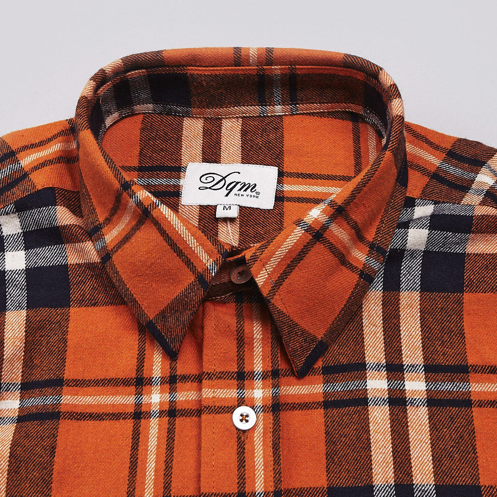 DQM Steamer Plaid Flannel Shirt Orange