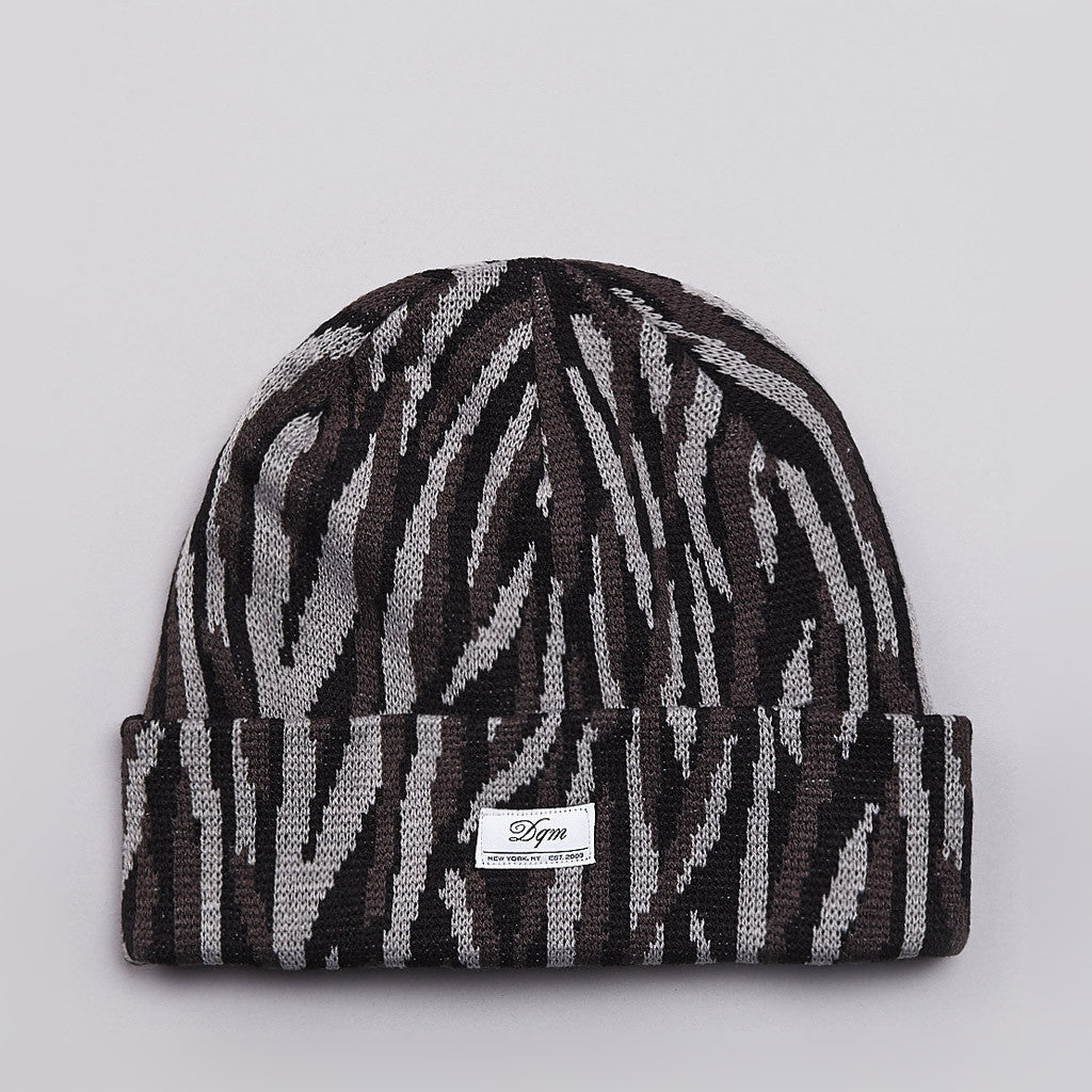DQM Tiger Striped Camo Beanie Grey