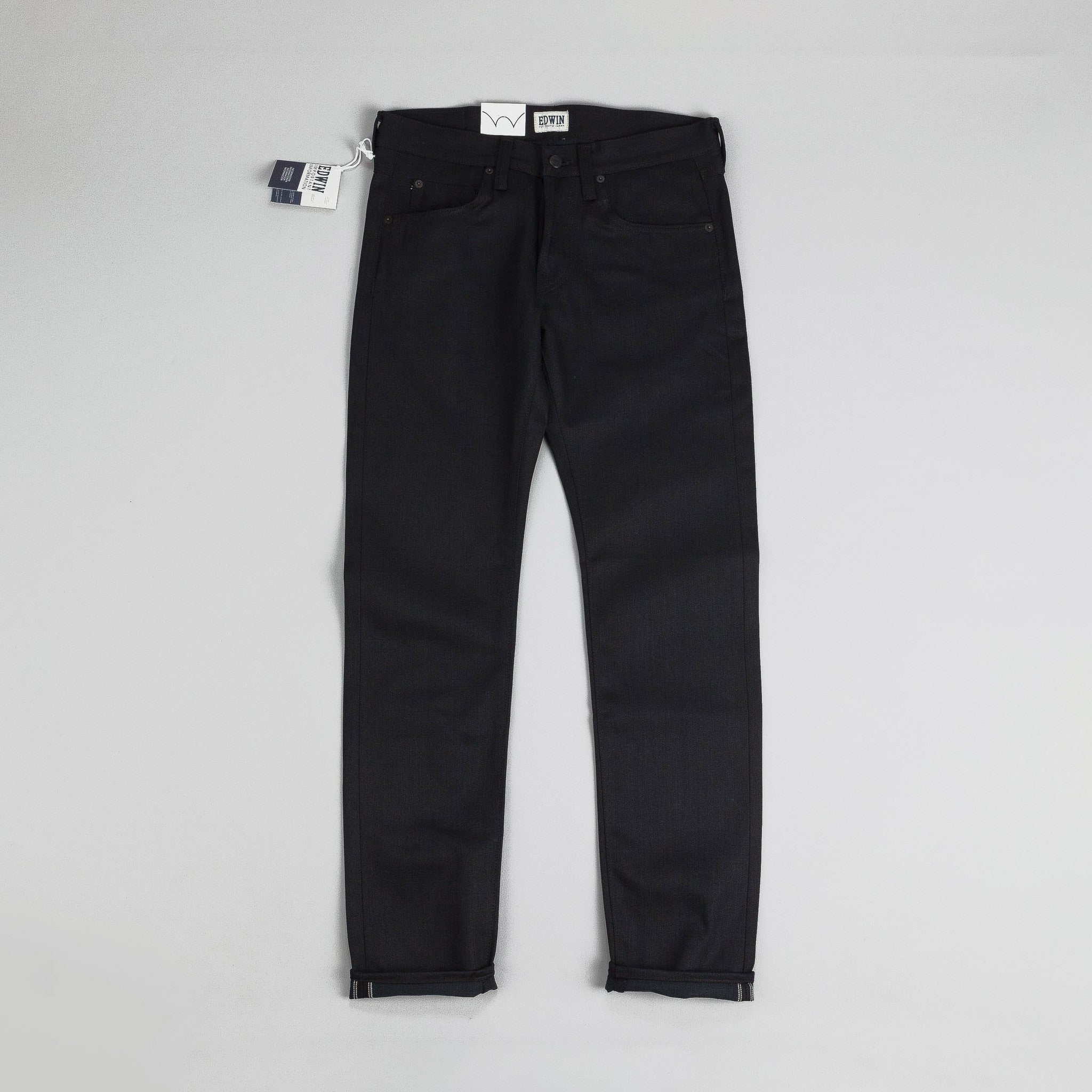 Edwin ED-55 Relaxed Tapered White Listed Jeans Black Unwashed