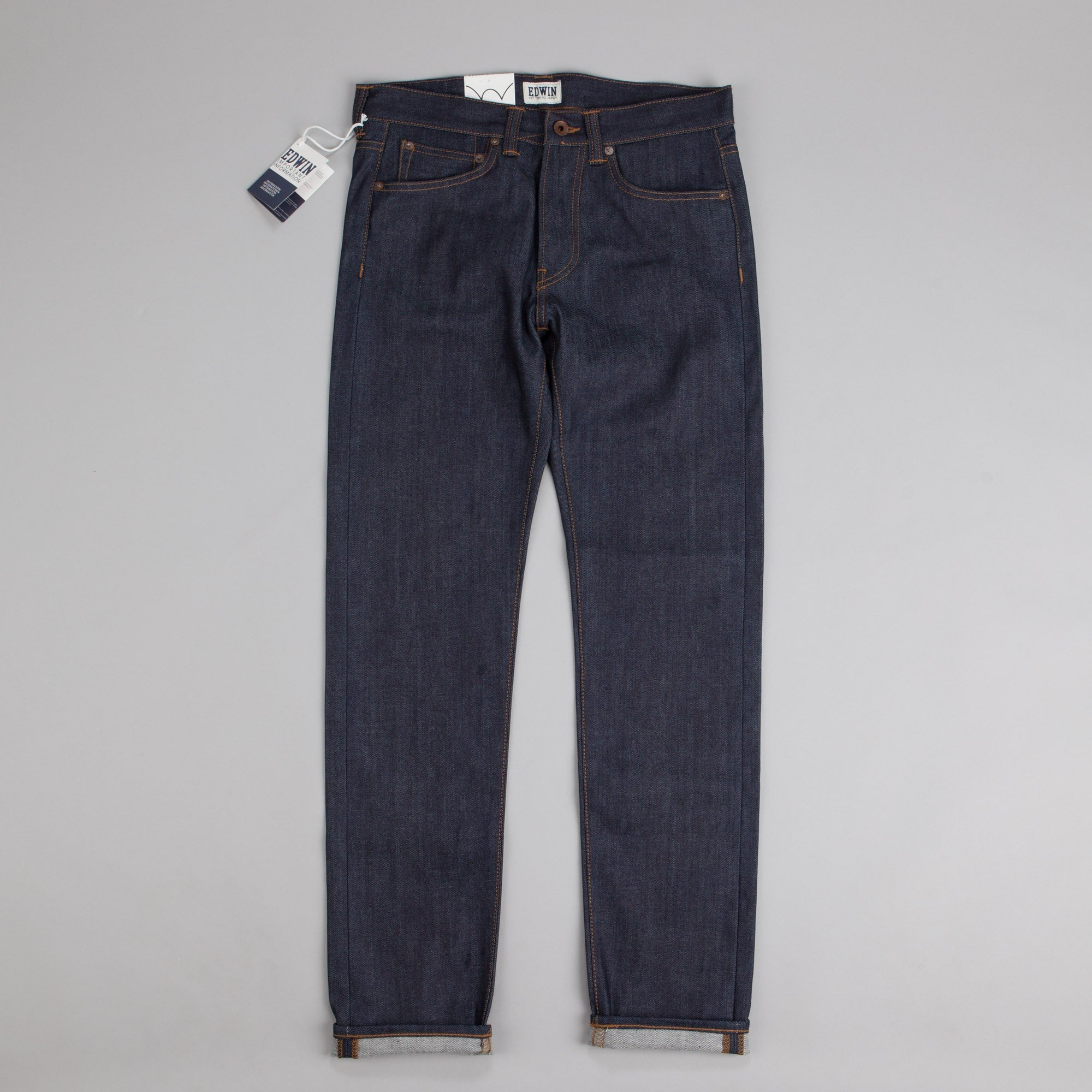 Edwin ED-80 Slim Tapered Compact Indigo Denim 11.5oz Jeans Blue Unwashed