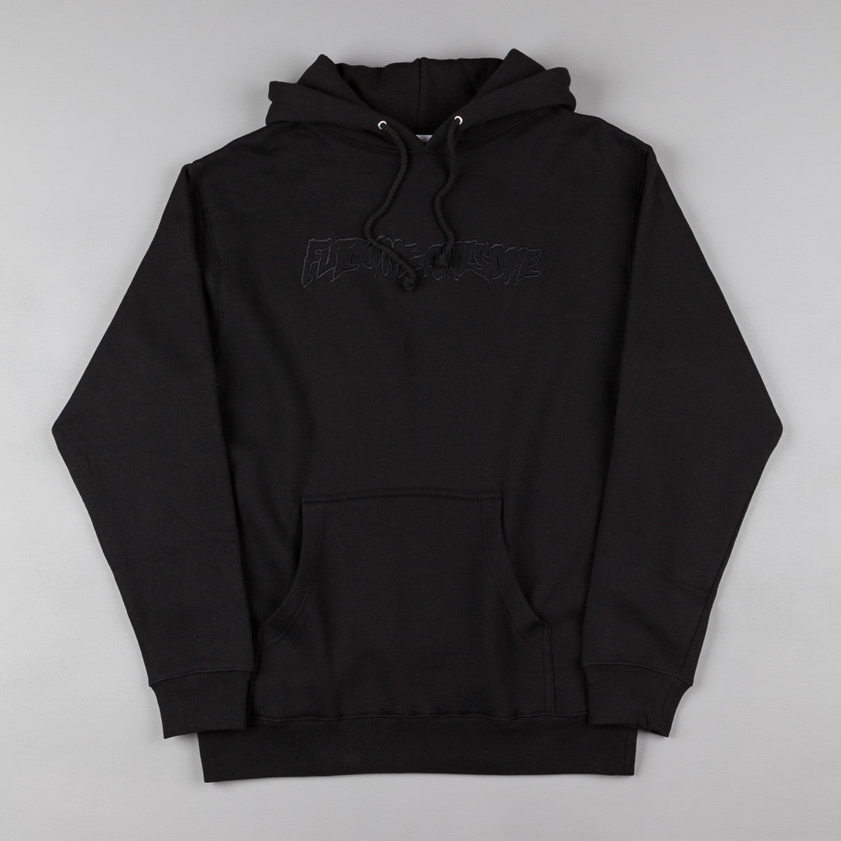 Fucking Awesome Embroidered Outline Hooded Sweatshirt -  Black on Black