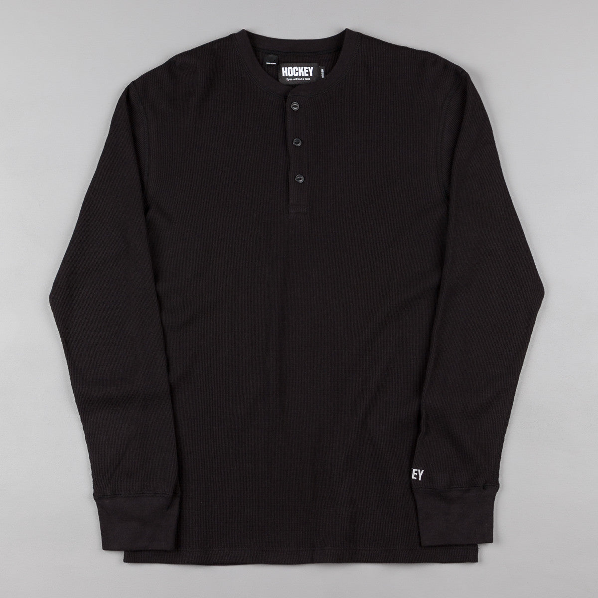 Hockey Waffle Henley Long Sleeve T-Shirt - Black