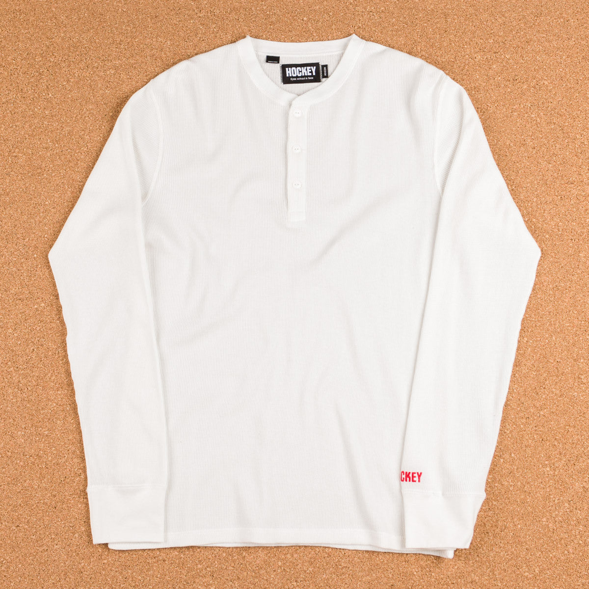 Hockey Waffle Henley Long Sleeve T-Shirt - Ivory